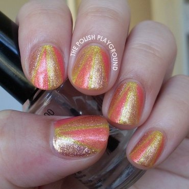 Shimmery color block nail art thumb370f