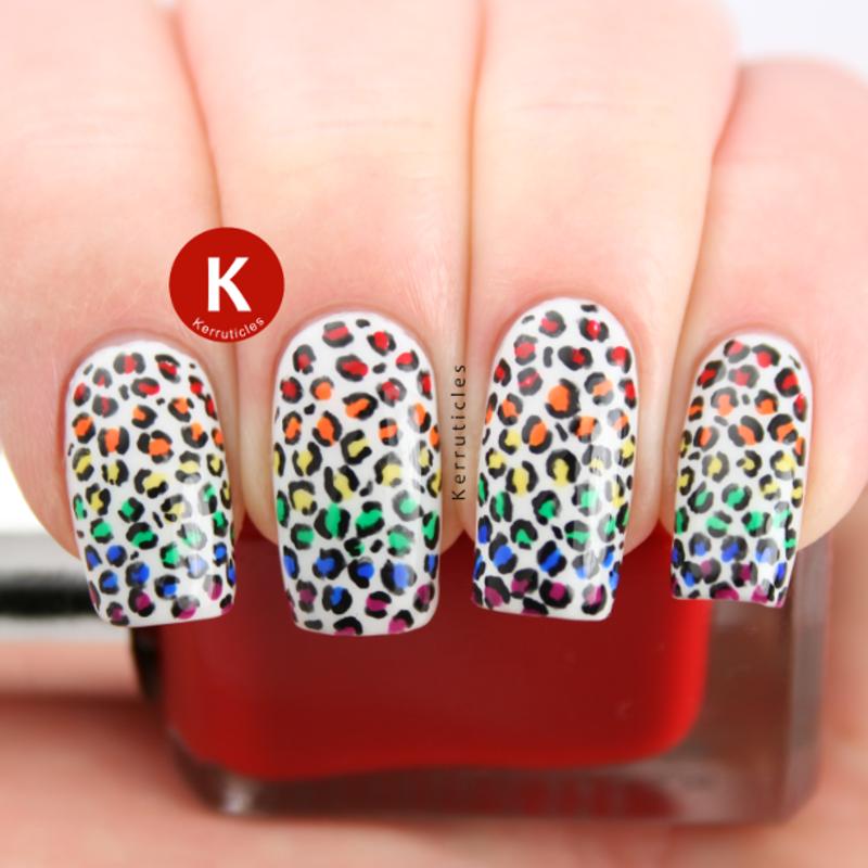Rainbow gradient mini leopard print nail art by Claire Kerr