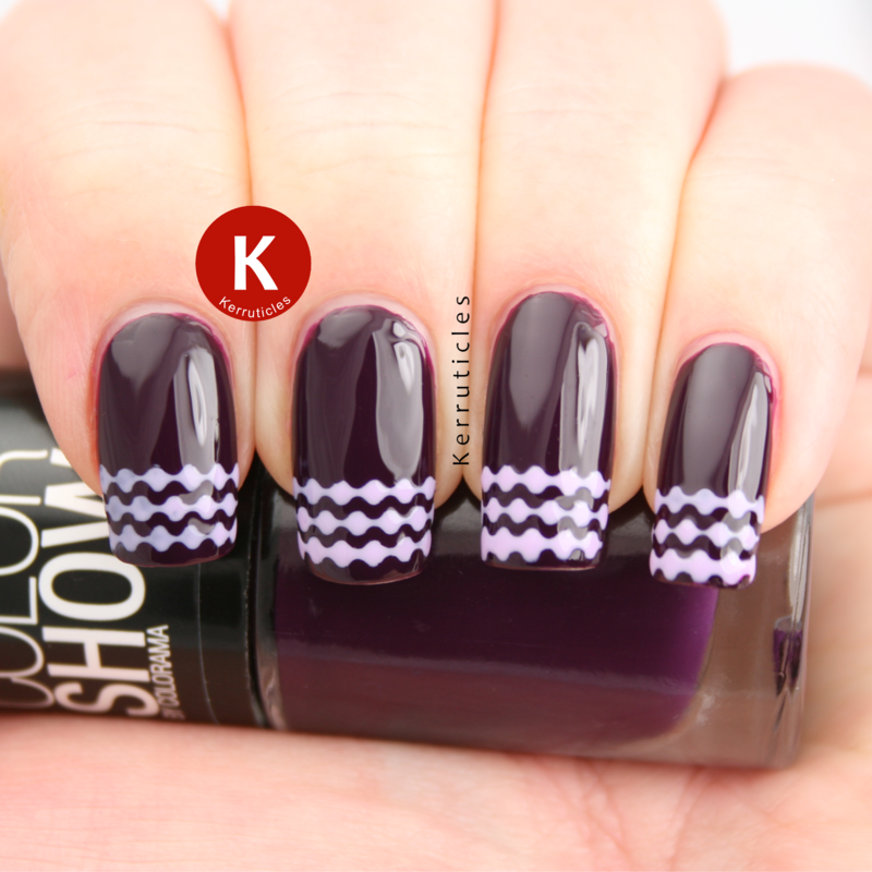 Stencilled lilac French tips nail art by Claire Kerr