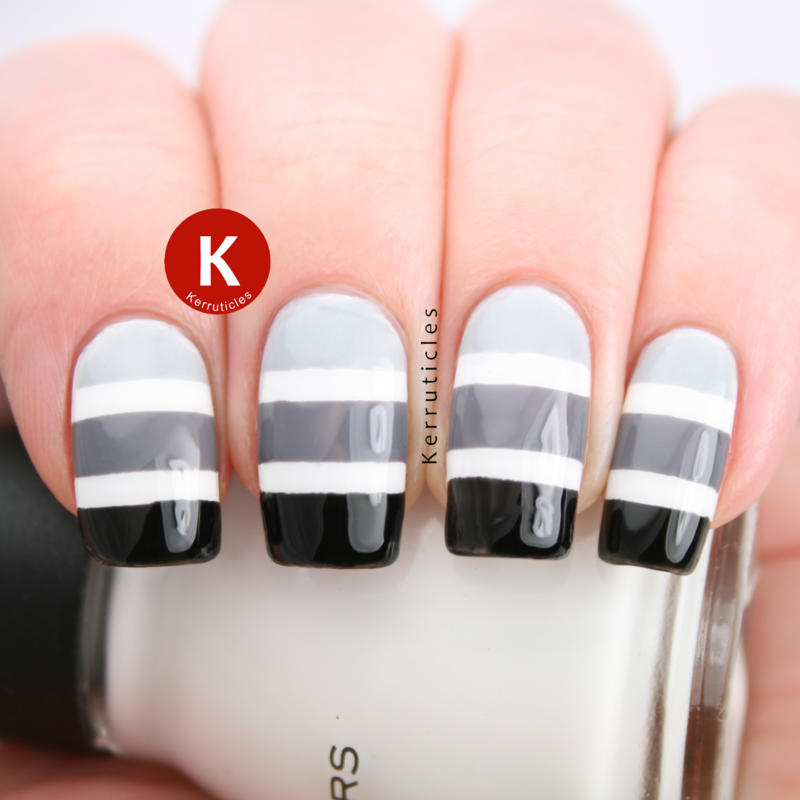 Black and grey gradient stripes over white nail art by Claire Kerr