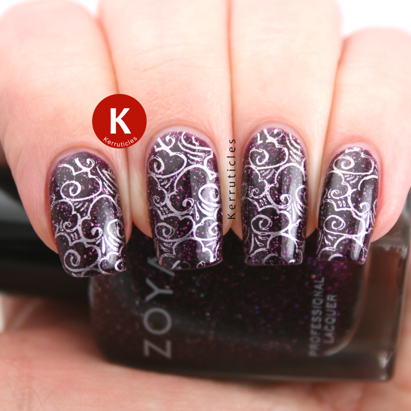 Stamped clouds over Zoya Payton nail art by Claire Kerr