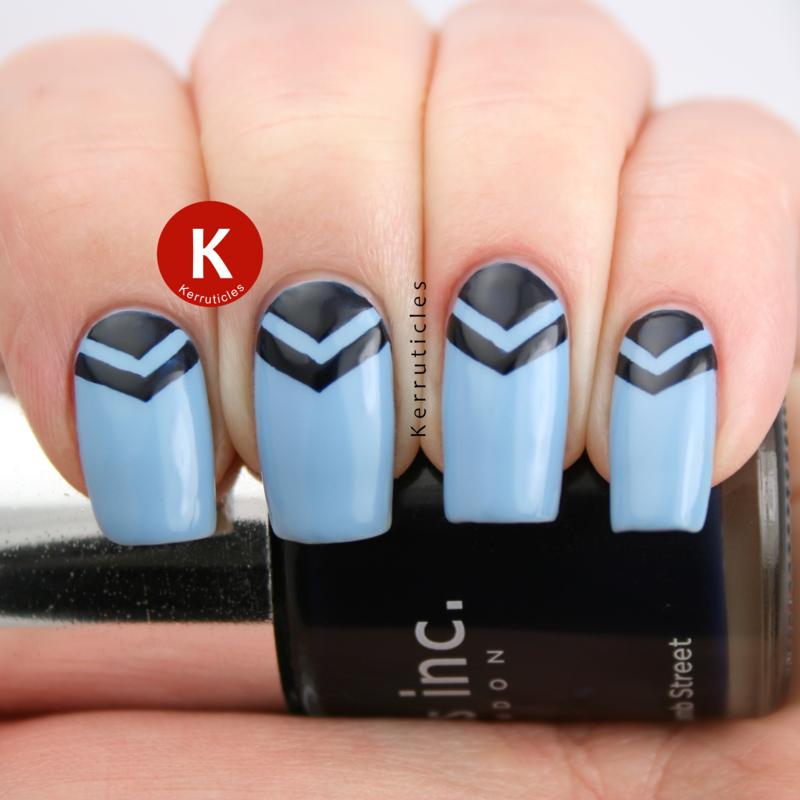 Blue double chevron half moons nail art by Claire Kerr