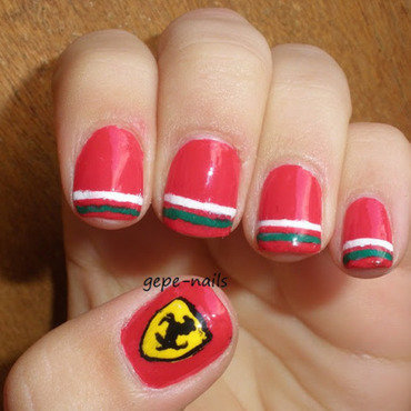 Ferrari nails nail art by GepeNails