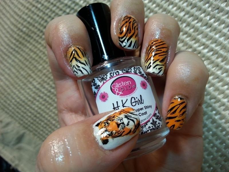 Tiger Nails nail art by Silje  Bannister
