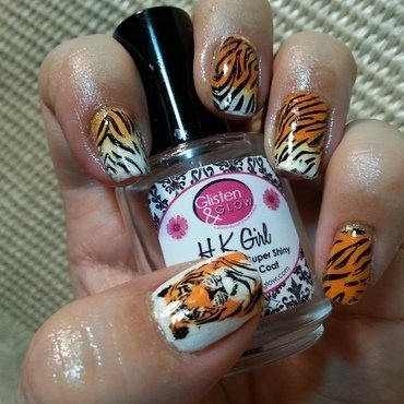 Tiger Nails nail art by Silje  Bannister