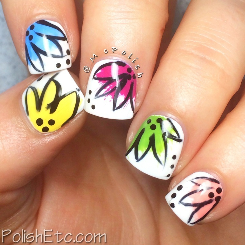 Spring Splash Flowers nail art by Amy McG