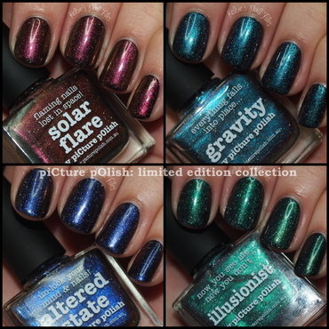 piCture pOlish Solar Flare, piCture pOlish Gravity, piCture pOlish Altered State, and piCture pOlish Illusionist Swatch by Kelsie