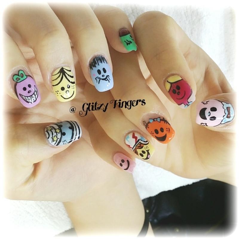 Mr. Men & Little Miss nail art by GlitzyFingers