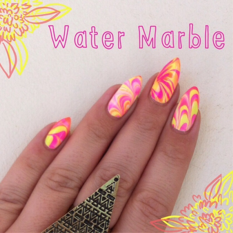 Neon WaterMarble  nail art by Stacey Lee  Warren