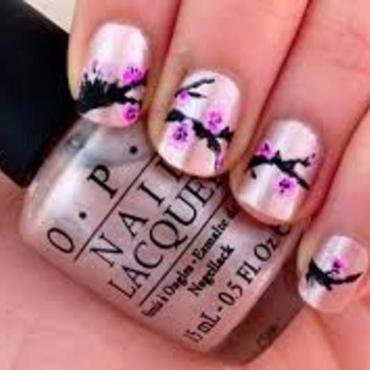 Cherry Blossom Nail Art nail art by Kajal Sharma