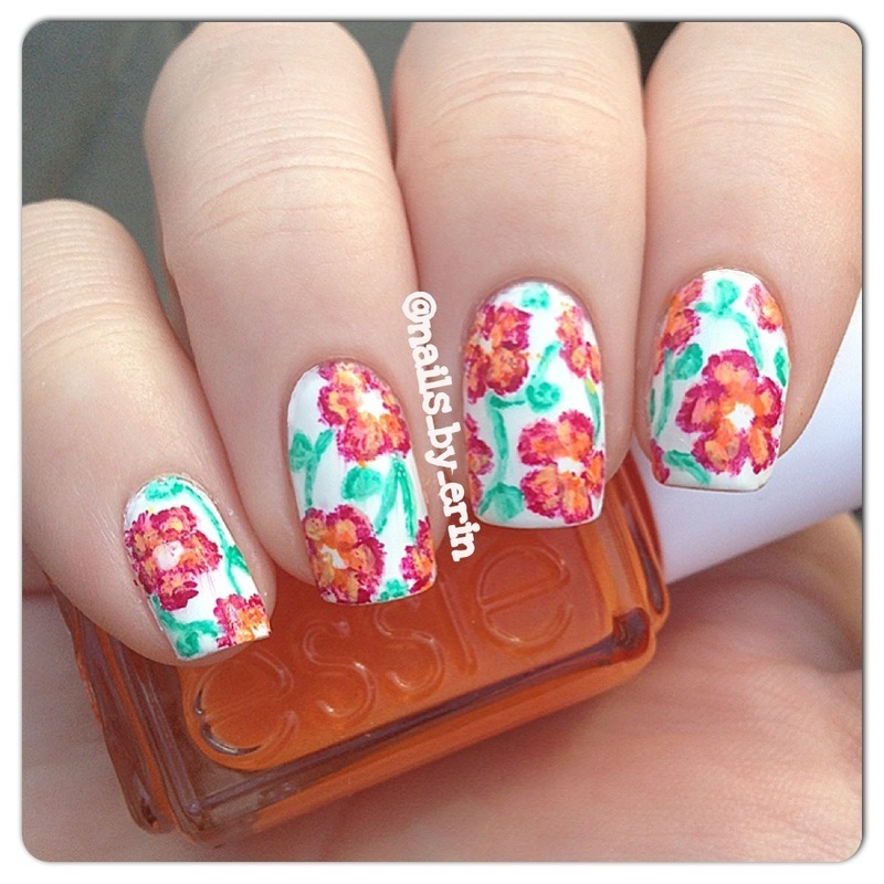 Orange Floral Nails nail art by Erin