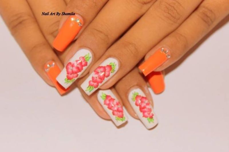 Spring Time Flower Nail Design  nail art by shamila diluckshi
