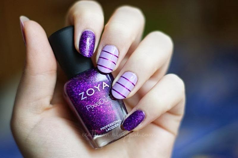 Purple Dust nail art by ecattiem