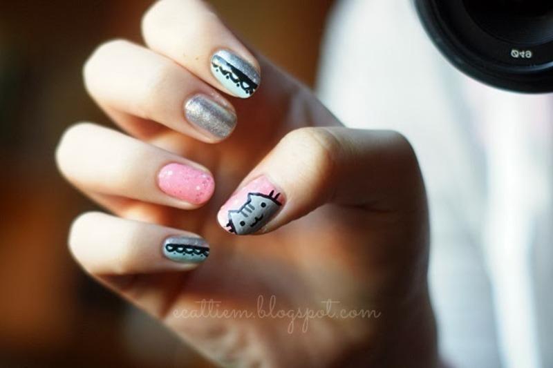 Pusheen nail art by ecattiem