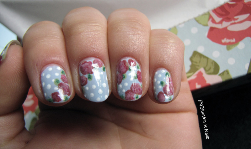 Vintage roses + dotts nail art by Sky Blue Velvet Nails