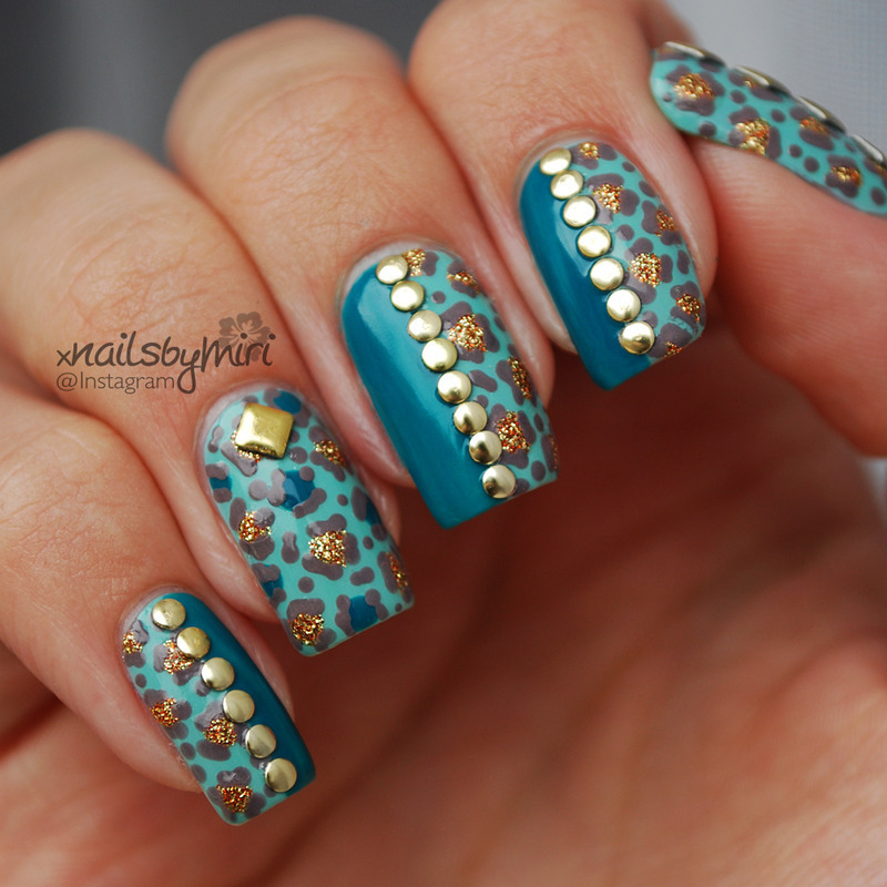Mint gold leopard print design with studs nail art by xNailsByMiri