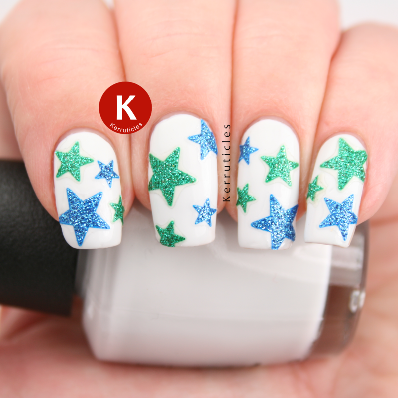 Blue and green sparkly stars nail art by Claire Kerr