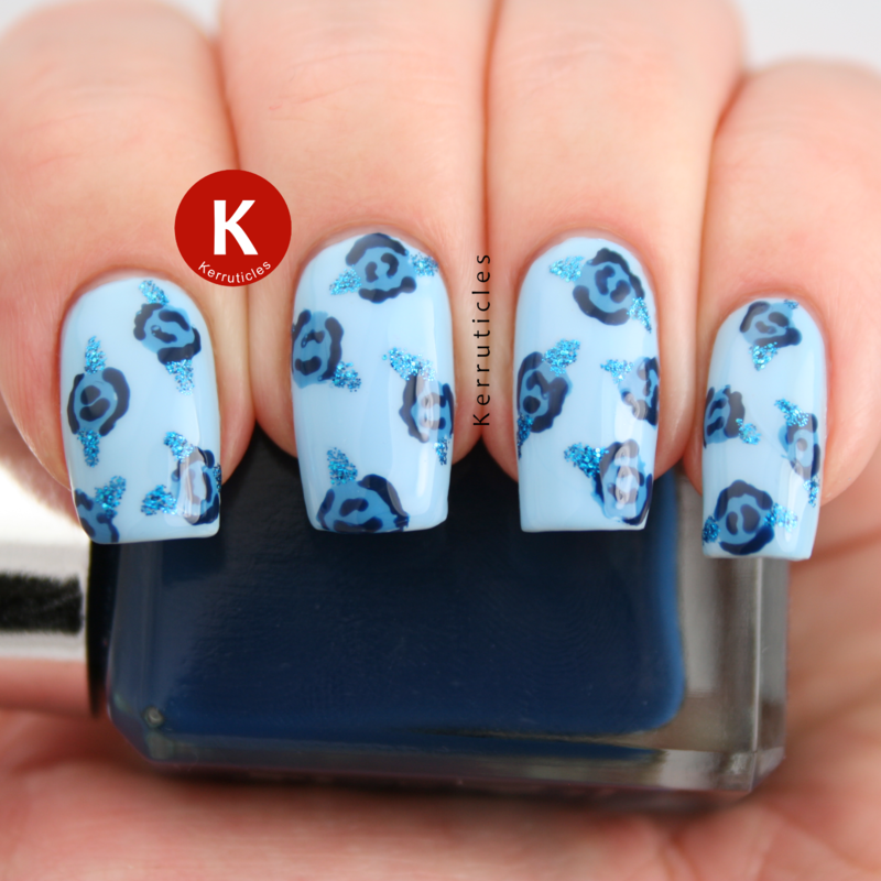 Blue roses nail art by Claire Kerr