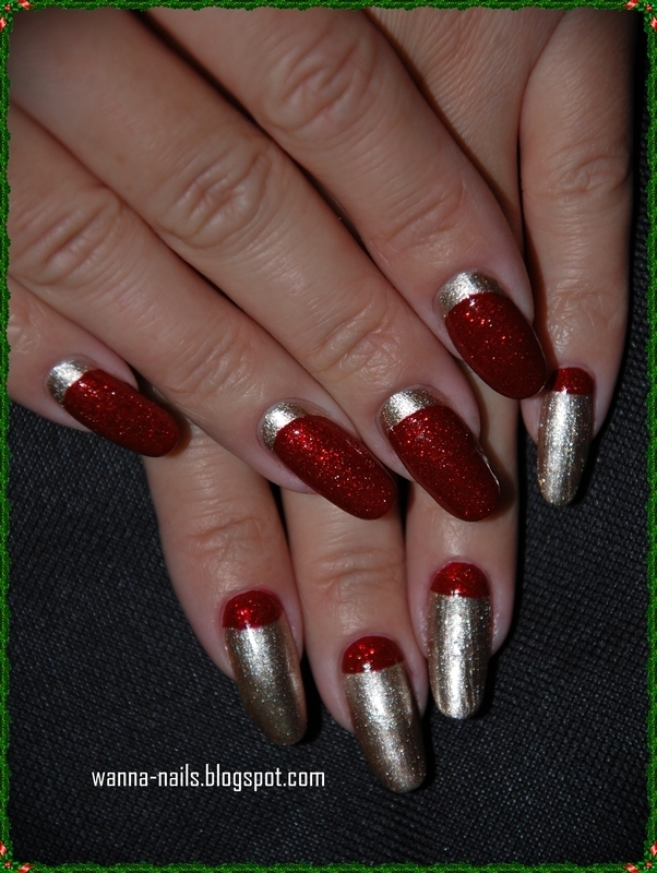 Red & Gold nail art by Oana Chiciu