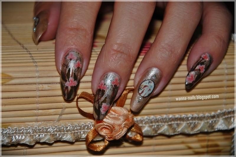 Vintage nails nail art by Oana Chiciu