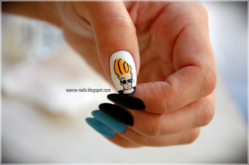 Johnny Bravo nail art by Oana Chiciu