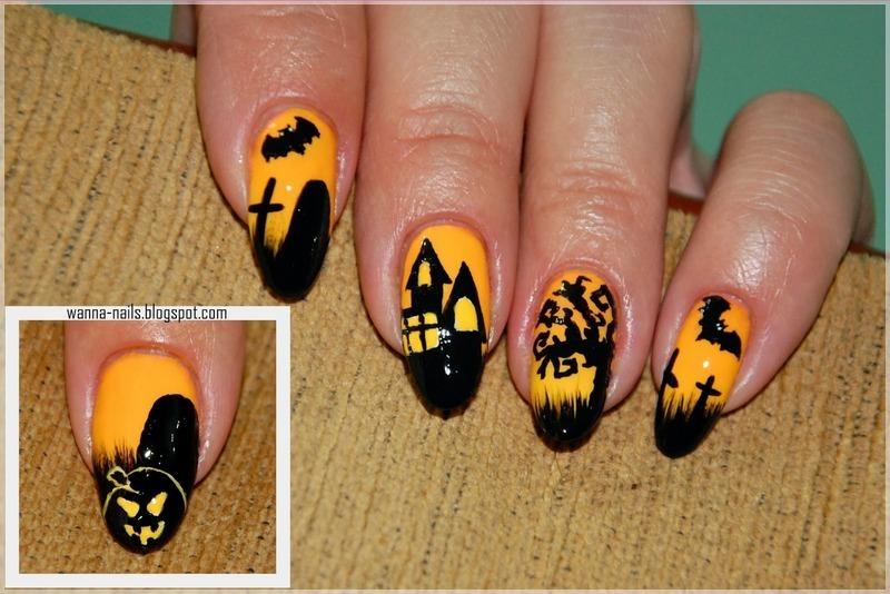 Spooky Halloween nail art by Oana Chiciu