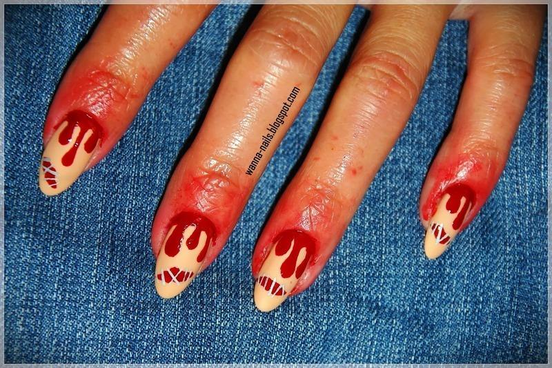 Bloody Halloween nail art by Oana Chiciu
