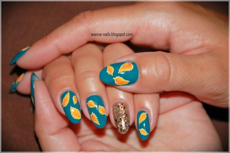 Autumn leaves nail art by Oana Chiciu