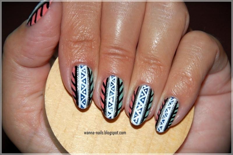 Aztec / Tribal print nail art by Oana Chiciu