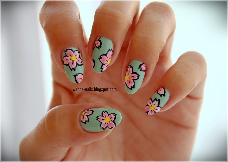 Cherry tree flowers nail art by Oana Chiciu