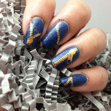 Zipper Water Decals nail art by Amber Connor