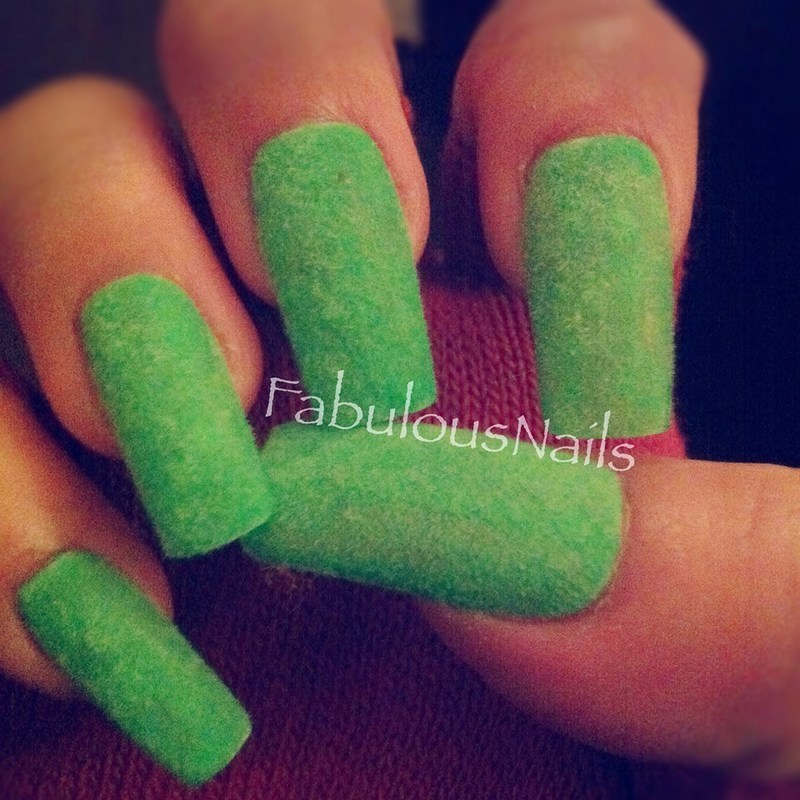 Spring Green Furry Nails nail art by Anita Davis