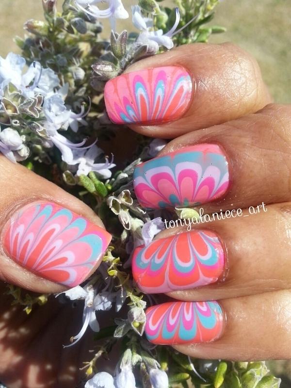 Spring Water Marble nail art by Tonya