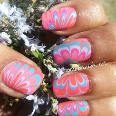 Spring Water Marble nail art by Tonya