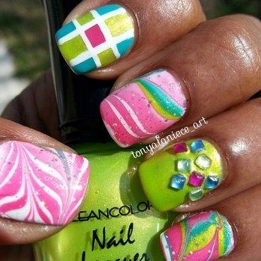 Neon Watermarble nail art by Tonya