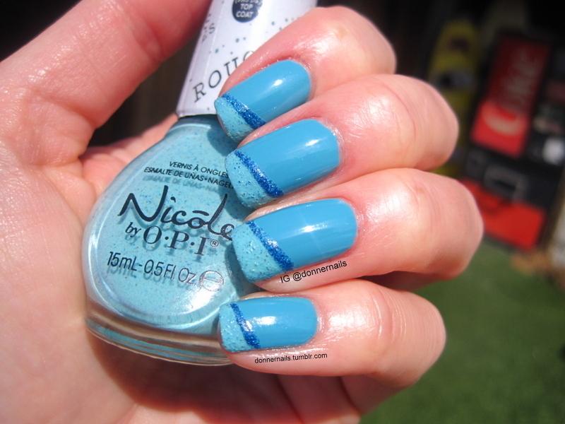 Ocean Blue nail art by Donner