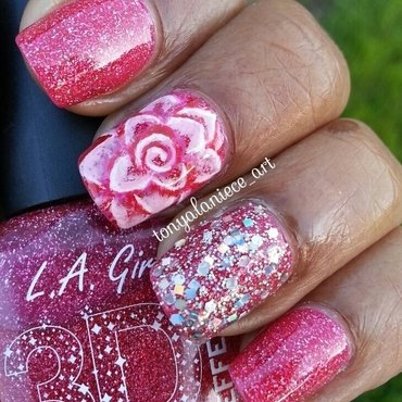 Rose Manicure nail art by Tonya