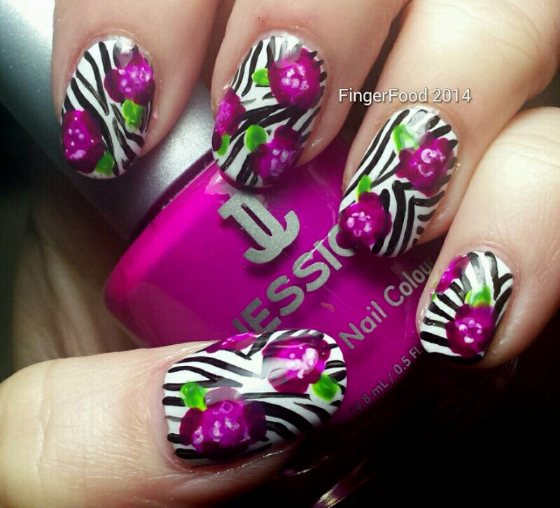 Zebra Roses nail art by Sam