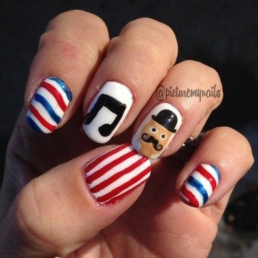 Barbershop singer nail art by Picture My Nails