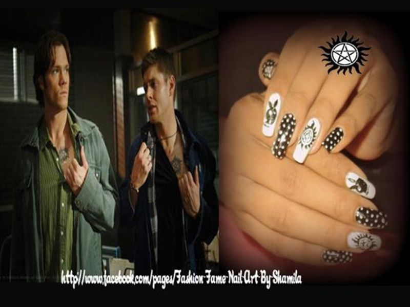 Supernatural Tv Show Inspired Nail Design nail art by shamila diluckshi