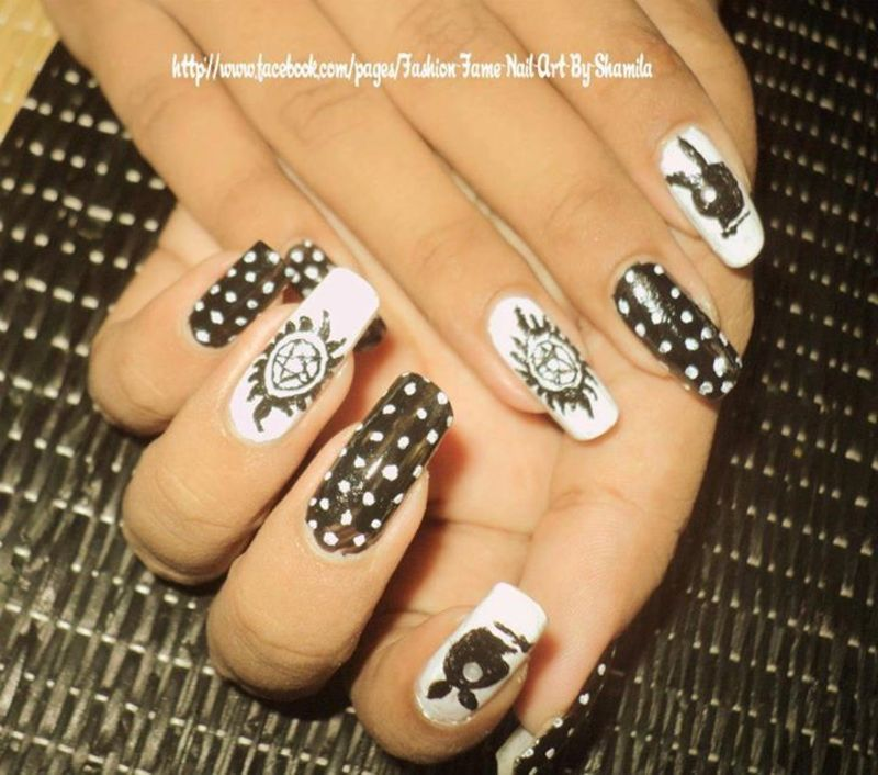 Supernatural tv show inspired nail design nail art by shamila supernatural tv show inspired nail design nail art by shamila diluckshi prinsesfo Choice Image