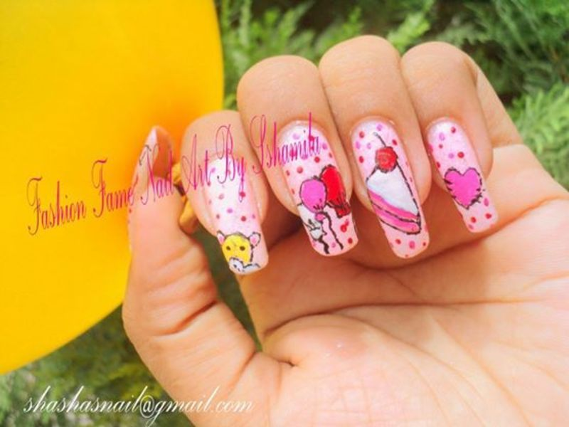 Birth day party nail design nail art by shamila diluckshi