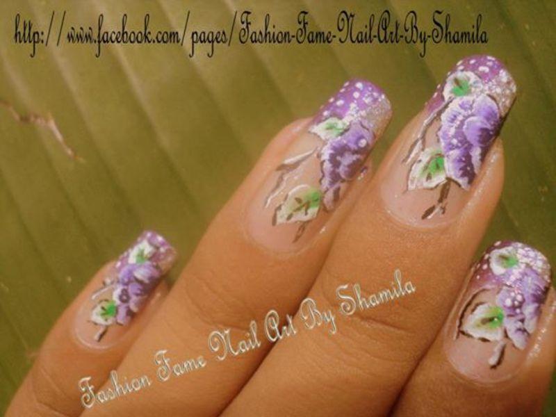 One stroke flower design nail art by shamila diluckshi