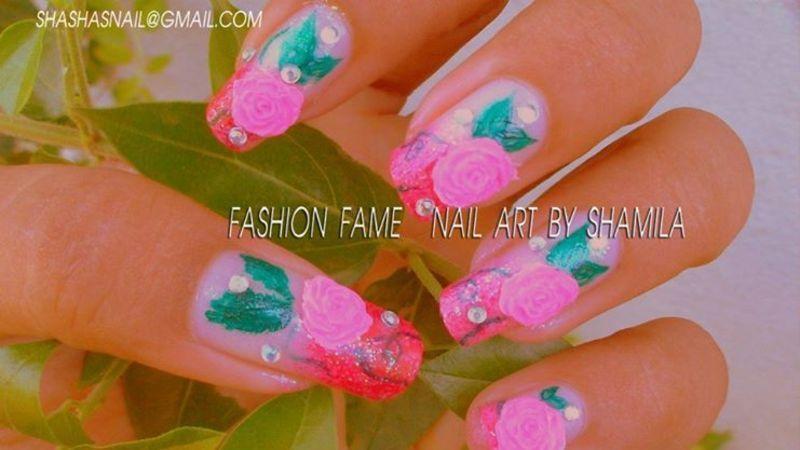 3D Roses nail design nail art by shamila diluckshi
