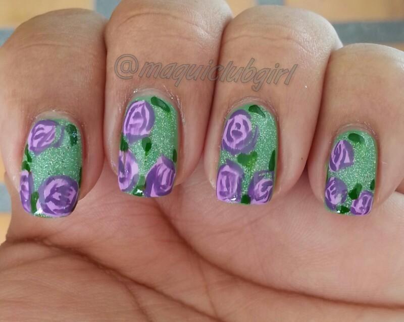 Purple flowers nail art by maquiclubgirl