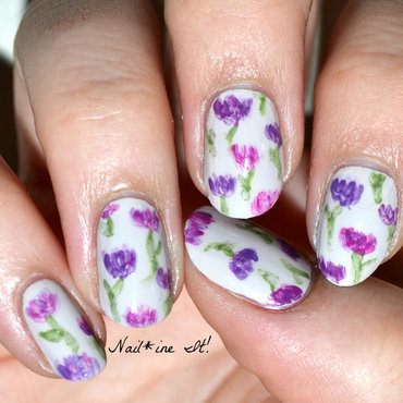 Spring into Watercolor Flowers nail art by Christine of Nail*ine It!