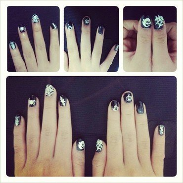 Cartoon Halloween nail art by JingTing Jaslynn