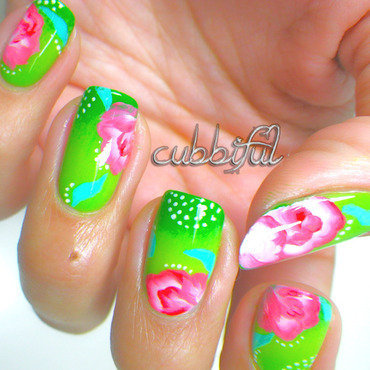One-Stroke Spring Flowers nail art by Cubbiful