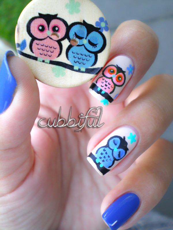 Cute Owls Inspired By A Button Nail Art By Cubbiful Nailpolis