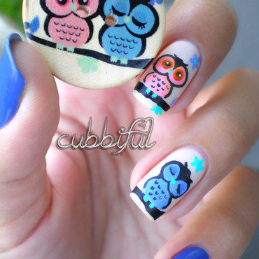 Cute Owls (inspired by a button) nail art by Cubbiful